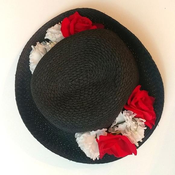 Women's Black Straw Hat w/ Red & White Flowers